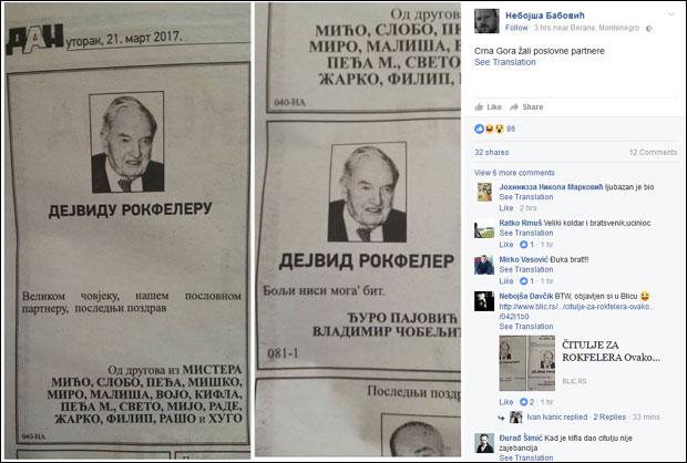 Crnogorci zapalili društvene mreže čituljama o Rokfeleru